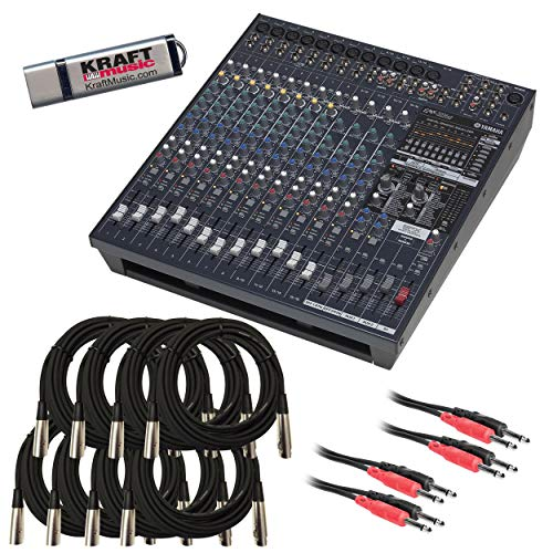 Yamaha EMX5016CF Powered Mixer with Cables and Flash Drive