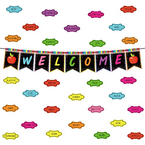 WATINC 65Pcs Welcome Bulletin Board Welcome Banner Hanging Pennants Garland for Classroom Decoration Chalkboard Brights, Back to School Supplies with Colorful Cards, School Theme Décor for Teachers