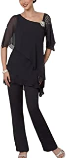 2 Piece Mother of The Bride Pantsuit Half Sleeve Plus Size for Wedding