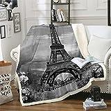 Loussiesd Manta de forro polar de la Torre Eiffel Chic Paris para la cama, sofá de París Cityscape Sherpa Manta transpirable cálida y difusa manta retro gris doble de 156 x 188 cm