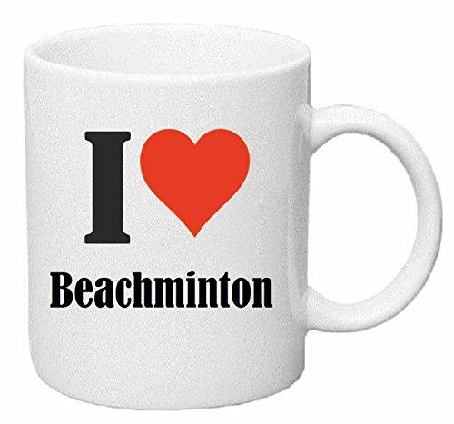 Reifen-Markt Kaffeetasse I Love Beachminton Keramik Höhe 9,5cm ? 8cm in Weiß