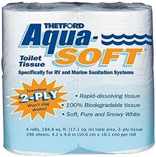 Thetford 03300 Aqua-Soft Toilet Tissue, 2-Ply, 4 Rolls (Pack of 6)