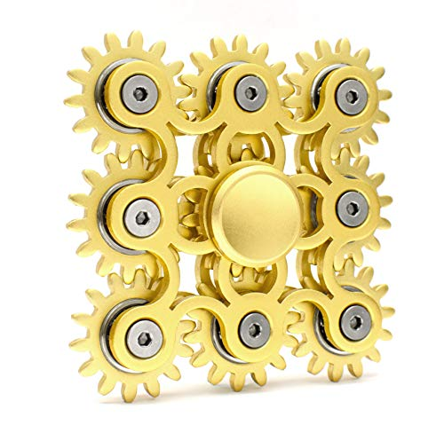 SHYNE Edler Fidget Spinner 9 Zahnräder aus Metall Lange Drehzeit bis 5 min + Metallbox Hand Toy Finger Spielzeug (Gold)
