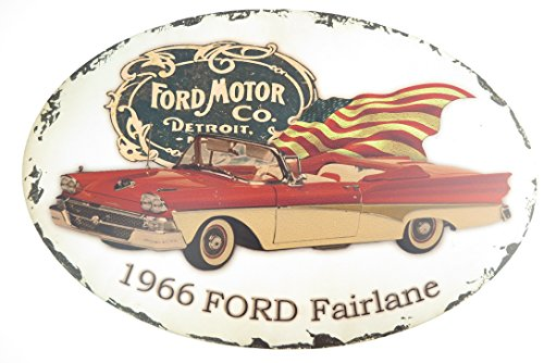 50 Cm de garage partykeller ovale plaque uSA fORD fairlane 1966 detroit décoration