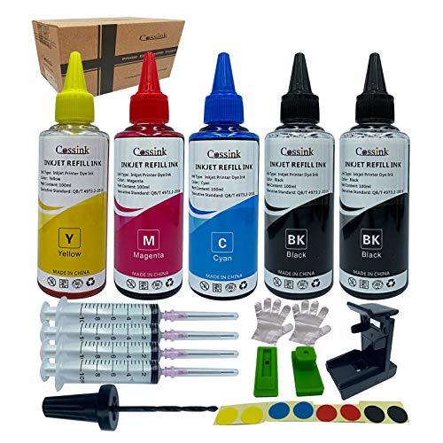 Cossink Kit de recambio de tinta de 500 ml compatible con cartuchos de tinta HP 650xl 351XL 350XL 300XL 901XL 62XL 21XL 22XL 650 350 300 901 343 21 22