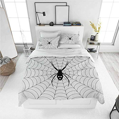 Spider Web King Size Sheet Set-3 Piece Set, Bedding Set All Season Quilt Set Poisonous Bug Venom Thread Circular Cobweb Arachnid Cartoon Halloween Icon with Ultra Soft and Breathable Comforter Cover