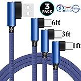 3Pcs 1-3-6FT Câble de Type C à 90 Degrés, 3A USB-C Chargeur Rapide pour Samsung Galaxy S21 S20 FE...