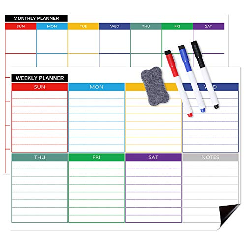 Magnetic Calendars for Refrigerator, Magnetic Calendars, Monthly & Weekly Set, White Board Planner for Refrigerator & Wall, 3 Colored Magnetic Markers, 1 Eraser with Magnet