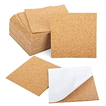 Blisstime 30 Pcs Self-Adhesive Cork Sheets 4 x 4  for DIY Coasters Cork Board Squares Cork Tiles Cork Mat Mini Wall Cork Board with Strong Adhesive-Backed