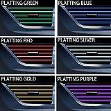 DIANXM 10 PCS Coche Interior Decoración Strips Molding Trim Aire Acondicionador Aire Acondicionado Outlet Grille Chrome Interior Strip Pegatina Automático Universal (Color Name : Plating Blue)