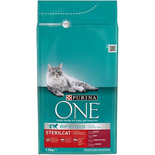 PURINA ONE Bifensis Pienso para Gatos Esterilizados Buey y Trigo 6 x 1,5 Kg