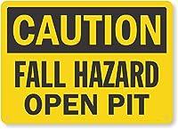 安全標識-注意-落下の危険性、オープンピットインチの金属スズ標識UV保護および耐候性、通知警告標識