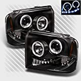 Xtune 2005-2007 F250 F350 F450 Super Duty Halo LED Headlights Black Head Lights Pair Left+Right 2006