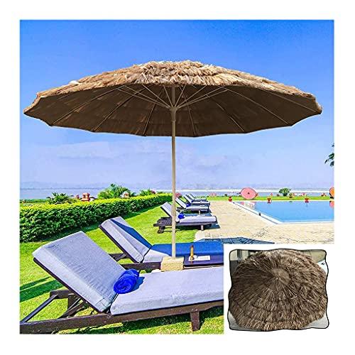 YRCWZF Outdoor Beach Thatch Umbrella, Sombrilla de Playa a Prueba de Viento de Altura Ajustable Portátil, Sombrillas de Patio de Piscina de Jardín