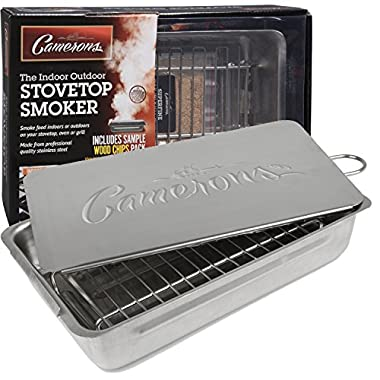 Indoor Outdoor Stovetop Smoker - Heavy Duty Stainless Steel 11  Smoker with Wood Chips Included