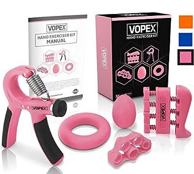 Hand Grip Strengthener Exerciser Kit (5 Pack) - Adjustable Hand Grips, Finger Strengthener, Hand Exerciser grip Ring, Finger Stretcher & Grip Strengthener ball by VOPEX