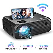 【2020 Upgrade】 WiFi Beamer 5000 Lumen Native 720p Unterstützt 1080P Full HD BOMAKER Wireless Projektor Max. 250'' Display Mini LED kompatibel mit iPhone/Android Smart Phone/iPad/Mac/Laptop/PC