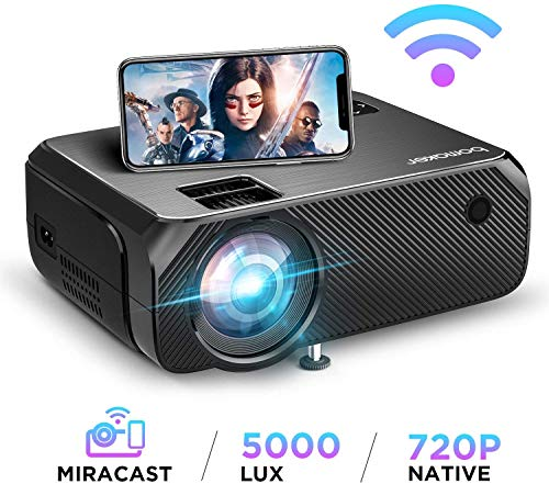 【2020 upgrade】 WiFi beamer 5000 lumen Native 720p ondersteunt 1080p Full HD Bomaker draadloze projector max. 250 inch display Mini LED compatibel met iPhone/Android Smart Phone/iPad/Mac/Laptop/PC zwart