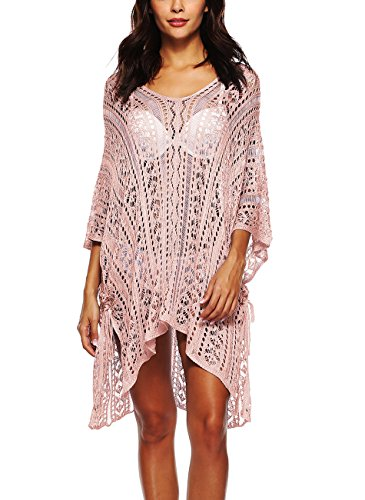 DearQ Damen Sommer Strand Kleid Splice Bademode Coverup Übergröße gehäkelte Tunika Strand Wear - Pink - Einheitsgröße