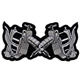 Small Tattoo Guns Patch - 4.5x2.25 inch. Embroidered Iron on Patch