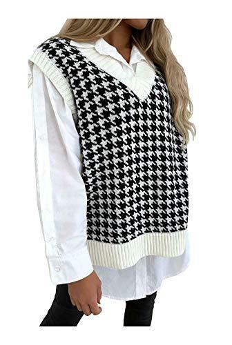 Islander Fashions Damen Dogtooth V Neck Strickweste Damen �rmellose Pullover Pullover Tank Top Sahne EU 36-38