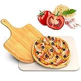 iBesi Piedra para pizza horno y parrilla, piedra hornear la mejor crujiente de cortezas, pala bambú gratuita, duradera segura barbacoa, cocción resistente al choque térmico.