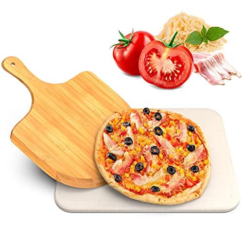 iBesi Pizzastein für Backofen und Gasgrill, Mit Bambus Pizzaschieber. Pizza Stein aus hochwertigem Cordierit, Langlebig, leicht zu Handhaben, für knusprigen Pizzaboden wie vom Italiener
