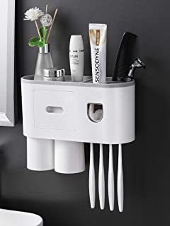 Wall Mounted Toothbrush Holder and Toothpaste Dispenser   Bathroom Storage Shelf   Dustproof Cosmetic Organizer   with Mag...