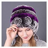 女性の冬の帽子の毛皮の編み物女性の暖かい雪の帽子レディースエレガントなプリンセスビーニーキャップ (色 : C8 H1001)