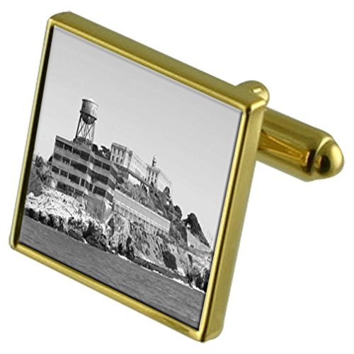 Select Gifts Alcatraz Gefängnis Gold-Manschettenknöpfe Crystal Krawattenklammer Geschenkset