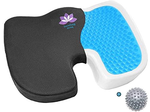 healing way Coussin Orthopédique Gel à mémoire de Forme- Soulage efficacement Les douleurs du Dos et du Coccyx – Confortable – corrige l'assise – pour Bureau Fauteuil Roulant Auto+Balle de Massage
