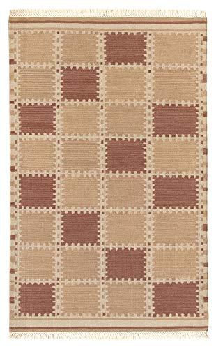 HAMID - Alfombra Kilim Nueva Zelanda con Diseño Geométrico - 100% Lana Anudada a Mano - Alfombra de Salón, Dormitorio, Sala de Estar - Varios Modelos - Damero (90x150cm)