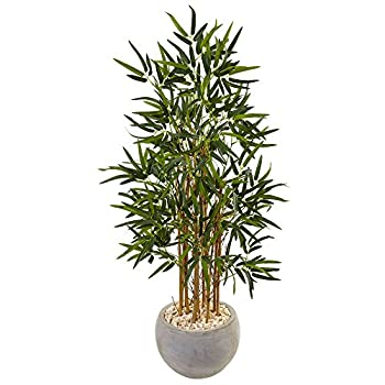 Nearly Natural 4' Bamboo Artificial Tree in Sand Colored Bowl Green