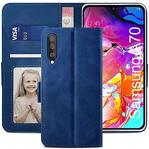 YATWIN Handyhülle Samsung Galaxy A70 Hülle, Klapphülle Samsung Galaxy A70 Premium Leder Brieftasche Schutzhülle [Kartenfach][Magnet][Stand] Handytasche für Samsung Galaxy A70 Hülle, Blau
