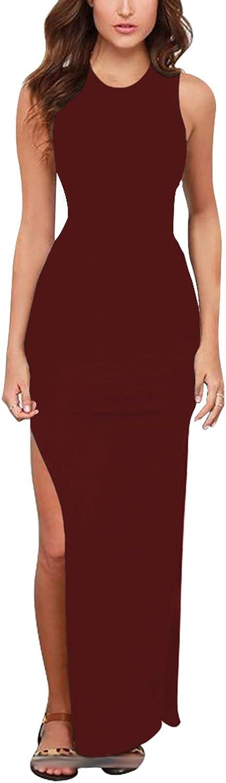 Meenew Women's Party Beach Vacation Tie Dye/Solid High Slit Long Bodycon Dress