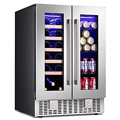 Antarctic Star 24 Inch Beverage Refrigerator Buit-in Wine Cooler Mini Fridge Clear Glass Door Digital Memory Temperature Control, Beer Soda LED Light, Quiet Operation (2 Door Dual Zone)