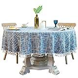 PCYG Nappe Nappe Nappe Ronde Nappe Maison Dentelle Grande Nappe Ronde Fête De Noël Lavable Salon Table Basse Restaurant Nappe Décoration, 160Cm, Bleu