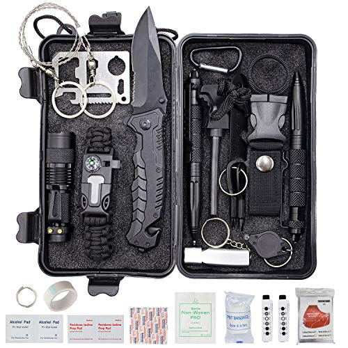 ProCase Survival Kit (40 in 1) for Camping Hiking, Outdoor Gear Tool and Equipment with Survival Bracelet, Fire Starter, Compass, Medical Supplies, Gifts for Men Dad Boyfriend Fathers Day -Black