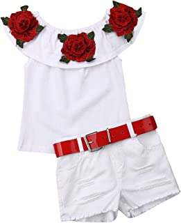 LXXIASHI Toddler Baby Little Girls Summer Outfits Off Shoulder Striped Crop Top Bowknot Blouse+ White Ruffle Shorts Clothing Sets (Rose Floral-White, 3-4Year)
