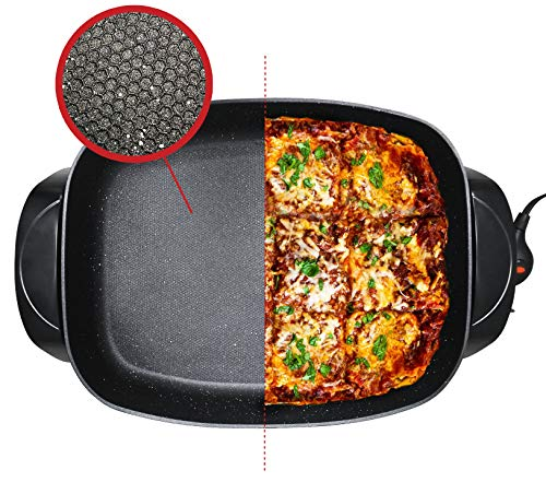 "Elite Gourmet EG-6203 Deep Dish 16"" x 13"" Heavy Duty, Easy-Pour Spout, 1500W, Dishwasher Safe, Rapid Heat Up, Non-stick Electric Skillet with Tempered Glass Vented Lid, Trigger Release Probe"