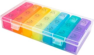 Pill Box 7 Day, Weekly Pill Organizer 3 Times A Day, Including 7 Individual Daily Pill Cases, Portable Travel Medicine Organizer for Holding Medication/Vitamin/Fish Oil/Supplements, BPA Free
