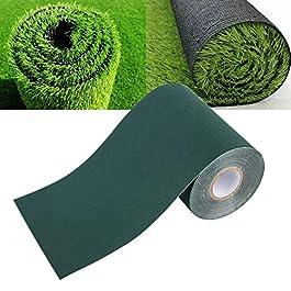 Tapis adhésif d'herbe de jardin en bande de gazon artificiel et tapis haute densité faux 150mm * 10m (noir)