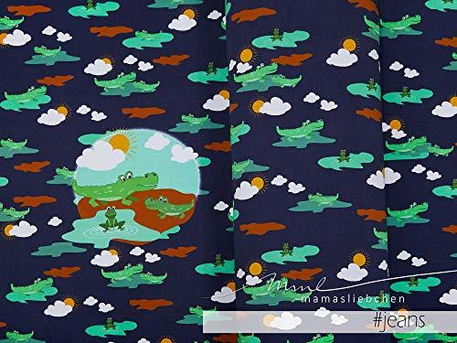 Mamasliebchen Jersey-Stoff Croco #Jeans (1Panel/ ca.0,60m) Krokodil Panel