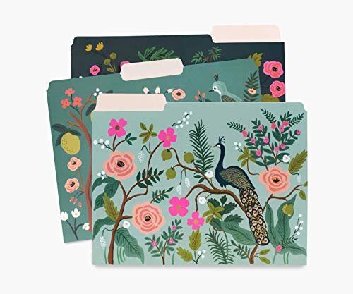Rifle Paper Co. Shanghai Garden Assorted File Folders, Stay Organized with Our Stylish and Sturdy File Folders, Set of 6 Folders Includes 2 of Each Design and 12 Handy Adhesive Labels