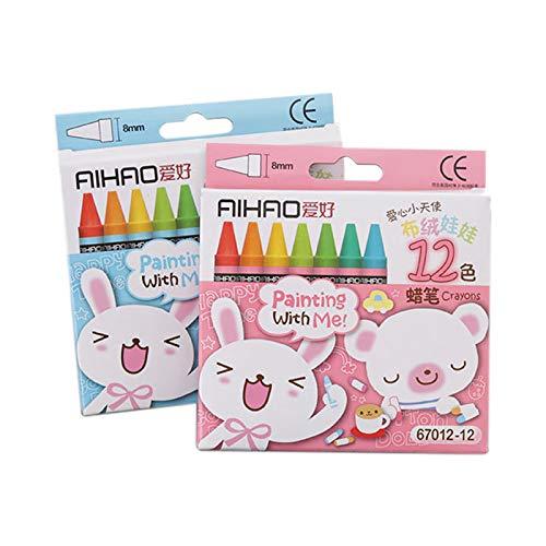 TOOGOO Baton de Peinture a l'huile au Crayon Non Toxique pour Dessin Anime creatif 12 Couleurs Crayons Pastel de Dessins pour des Enfants (Couleur de l'emballage aleatoire)