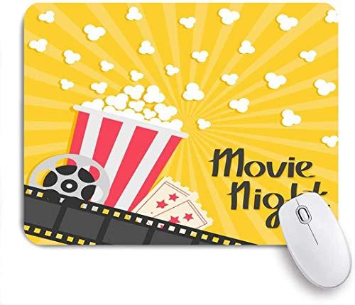 Minalo Gaming Mauspad rutschfeste Gummibasis, rotes Kino Popcorn knallen große Rolle Ticket Kinematographie Essen trinken flache Nacht Premiere Design Salz, für Computer Laptop Schreibtisch