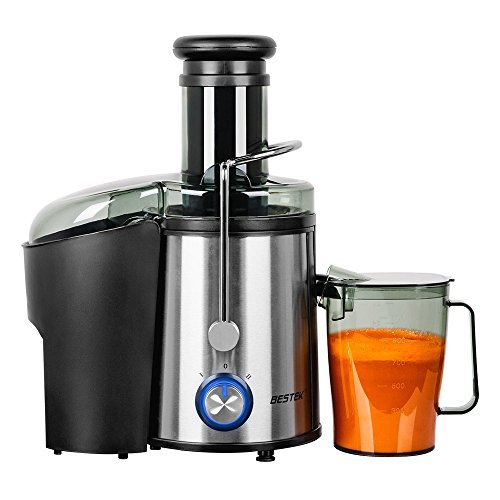 BESTEK Juice Extractor, 800 Watts Whole Fruit Centrifugal Juicer Machine with Juice Cup and Cleaning Brush, Stainless Steel