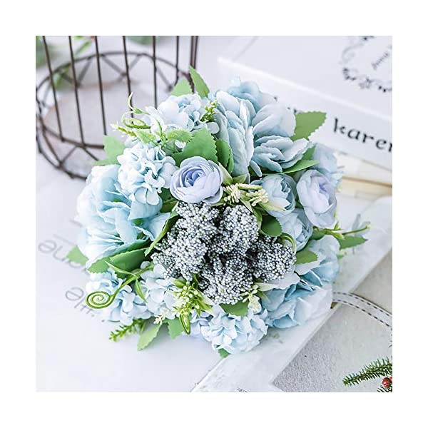 Fake Rose Flower, Bridesmaid Bride Wedding Bouquets Holding Flower for Home Garden Porch Centerpiece Party Arrangement Faux Roses Plants