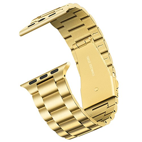 Compatible for Apple watch band 42mm 44mm Series 5, Upgraded Version Solid Stainless Steel Metal Apple Watch Strap Replacement iWatch bands 44mm Series 5 for Apple Watch Series 1/2/3/4/5(gold)