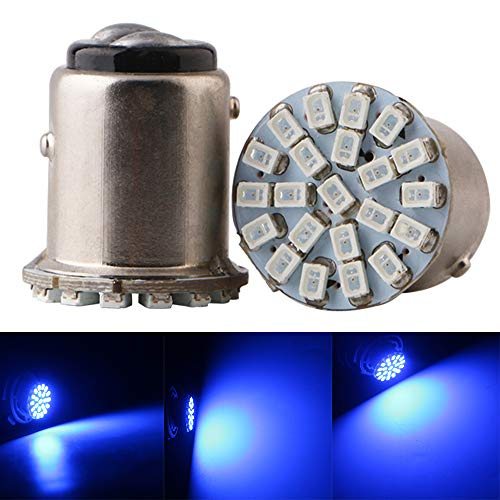 Qasim 10x LED 1157 BAY15D PY21W P21 / 5W Coche Bombillas Universales para Luz De Marcha Atrás Freno Luces de Reserva la Placa 2406 22SMD 176LM 1016 1034 24V Azul